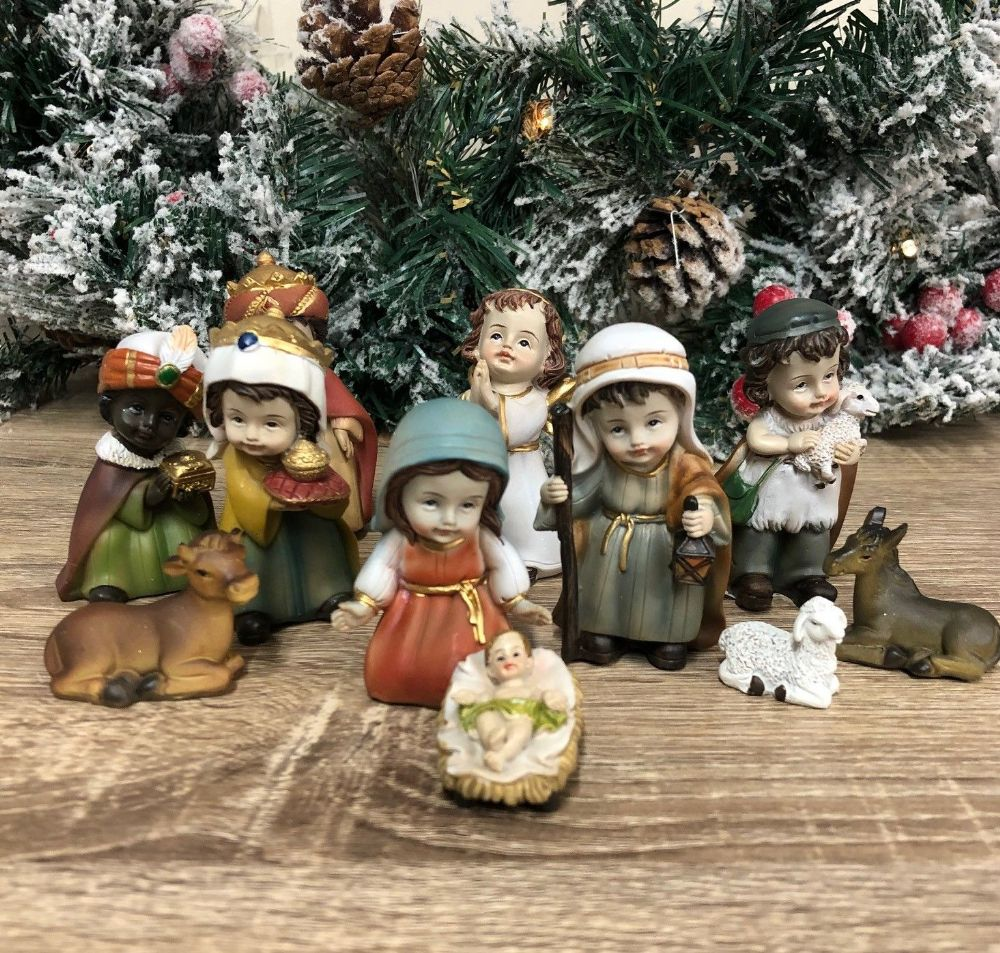 Childrens Nativity Set 11 Figures Christmas Ornament